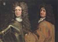 double portrait of the artist in a buff coat, with a palette and brushes in his left hand, with brigadier-general robert killigrew, in armour by antonio verrio
