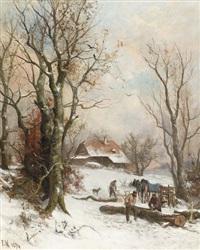 winterliche landschaft mit holzfäller by franz adolf christian müller