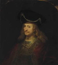portrait of a gentleman, half-length, in a cloak and bejeweled hat by ferdinand bol