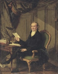 portrait of thomas paine in a dark coat and breeches holding a letter in his right hand by laurent dabos