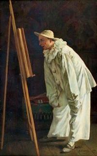 pierrot dans l'atelier du peintre by benjamin eugène fichel