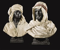 pair of busts of aleydah and ben ali-ben ladiar by pietro calvi