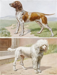 a german pointer in a landscape and a standard poodle by a doorway by theodor breitwieser