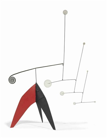 seven white dots brass spiral on black and red by alexander calder