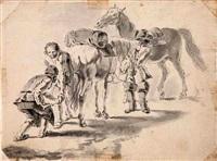 szenen mit pferden, reitern und knechten vor dem aufbruch (2 works) by adam frans van der meulen