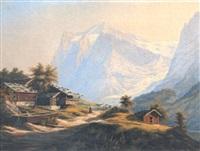 blick auf das wetterhorn und den grindelwaldgletscher by ferdinand corradi