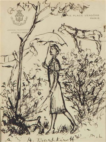 woman in a garden by mikhail larionov