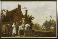 cavaliers devant l'auberge (in 2 parts) by abraham van der hoef