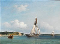 seascape with sailing boats off the coast at dyreborg near fåborg by carl dahl