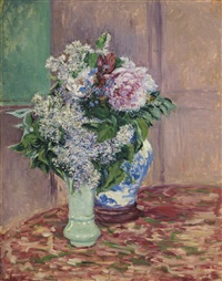 lilas et pivoines dans deux vases by gustave caillebotte