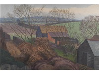 view from the artist's window, bottengoms by john northcote nash