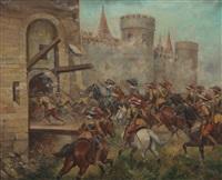 charging the drawbridge by paul emile léon perboyre