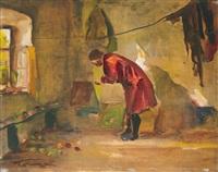 interior - woman in red by jános tornyai