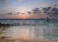 meereslandschaft mit booten im abendlicht by jules masuré