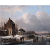 winter scene by louis smits