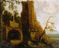 a ruined mansion in a landscape by carl ferdinand fabritius