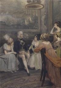 unterhaltung im salon by felicien de myrbach-rheinfeld