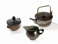 teaset with 'kombinationsteekanne' (set of 3) by theodor bogler and otto lindig
