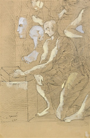 kneeling man in the studio by endre nemes