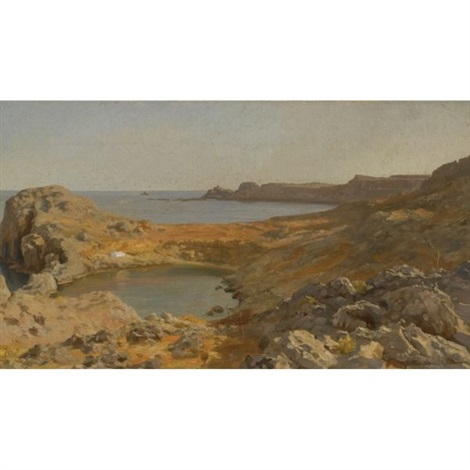 st pauls bay at lindos rhodes by lord frederick leighton
