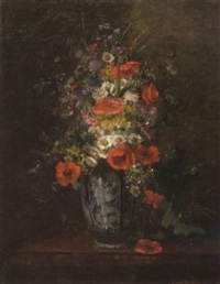 mixed flowers in a vase by louise darru