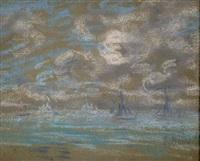 bateaux de peche sur mer calme by eugène boudin
