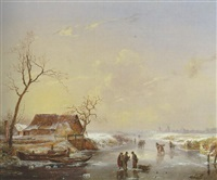 a winter landscape with figures on a frozen river by albert eduard moerman