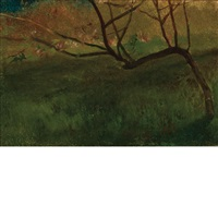study of apple tree, spring by john la farge