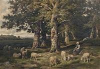 la bergère et ses moutons en forêt by charles ferdinand ceramano