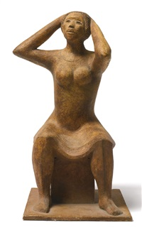 woman fixing her hair by elizabeth catlett
