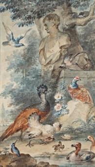 réunion d'oiseaux dans un paysage de parc by aert schouman