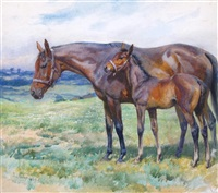 captain a. h. thistlethwaite's bay mare marriage lines with her foal master jim by trespasser by lucy elizabeth kemp-welch