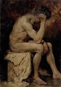 sitzendes männliches aktmodell by hans pezzey