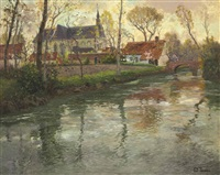 a river landscape with a church beyond by frits thaulow