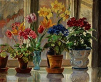 flowers on a window sill by olga (grand duchess) alexandrovna