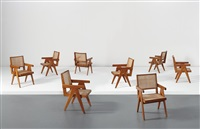 armchairs, model no. pj-ah-09-a (from the the mill owner's association building, ahmedabad, india) (set of 8) by pierre jeanneret