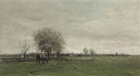 cows in a dutch polder landscape by willem maris