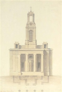designs for wordesley church, stourbridge, staffordshire (+ 2 others; 3 works) by lewis vulliamy