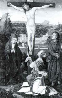 marie madeleine, la vierge et saint jean au pied de la croix by pieter (kunst) cornelisz