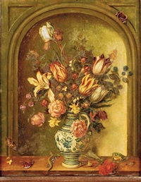 tulips, roses, lilies and other flowers with blackberries and gooseberries in a porcelain vase on a wooden ledge before a trompe l'oeil niche by johannes baers