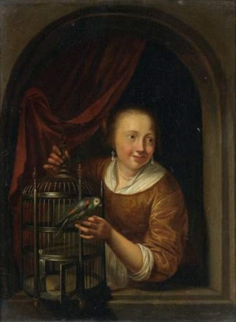 jeune fille à la perruche, dans une fenêtre cintrée by pieter cornelisz van slingeland