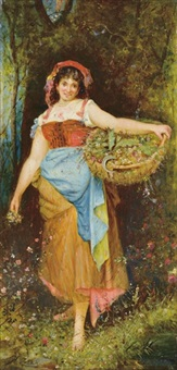 girl scattering flowers by hans zatzka