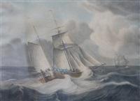 twee zeilschepen op woelige zee by jan hendrik boshamer