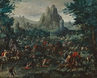 battle scene with a mountainous landscape beyond by marten van valkenborch the elder