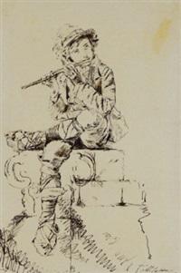 ragazzo in costume seduto che suona il flauto by michele la spina