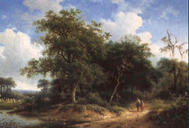 chemin animé conduisant à la rivière by h koekkoek