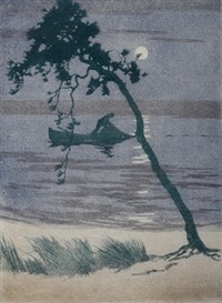the fisherman, nocturne by archibald bertram webb