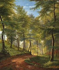 spring day in a beech forest by carl frederik peder aagaard