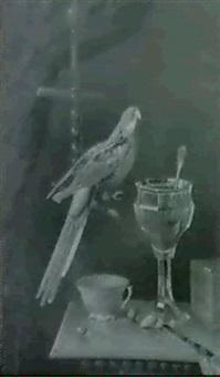 nature morte a la perruche et au verre de cerise by georges viard