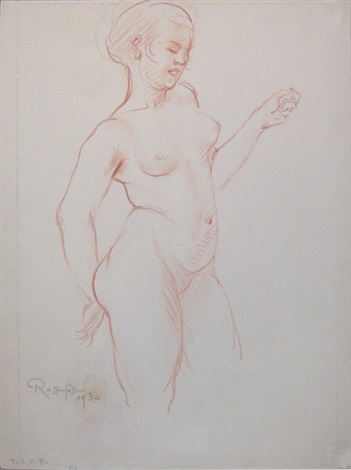 femme nue debout et femme en buste visage jambes femme à mi cuisse study recto verso by armand rassenfosse